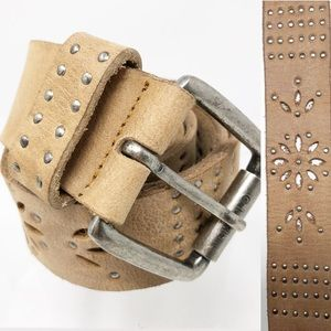 Tan Lazer Cut Out Studded Leather Belt